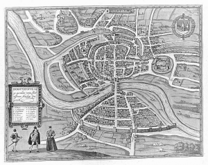 Historic map of Bristol in 1582