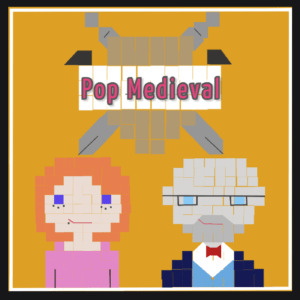 PopMedieval Logo, with busts of Nina and Dr. Nokes, with the logo above their heads.