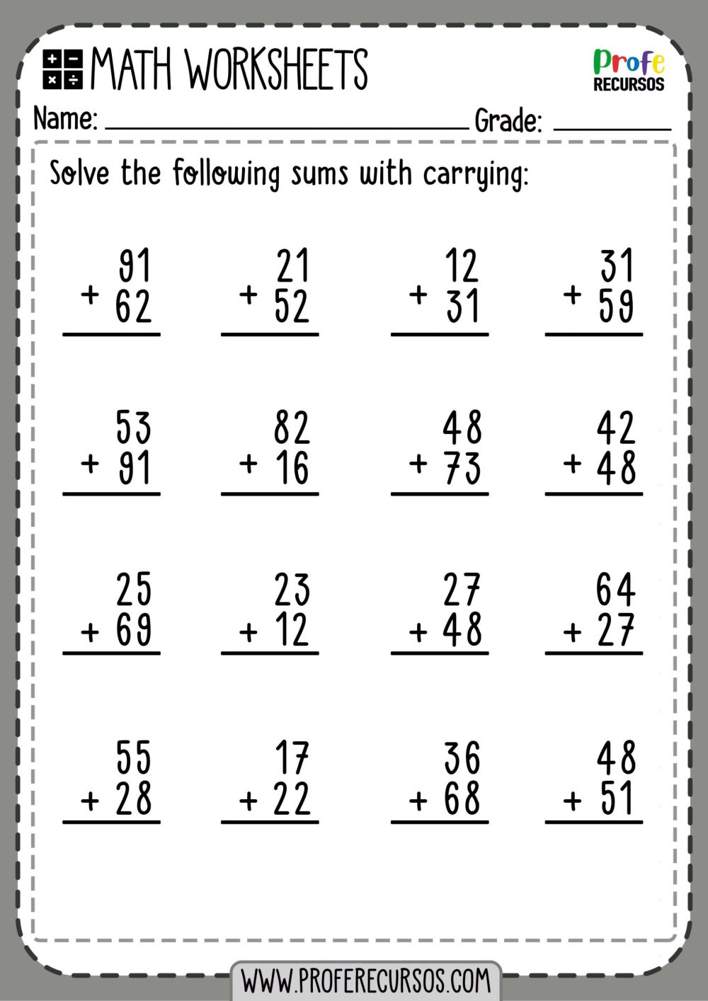 medium resolution of 2-Digit Addition with Carrying   Math Worksheets