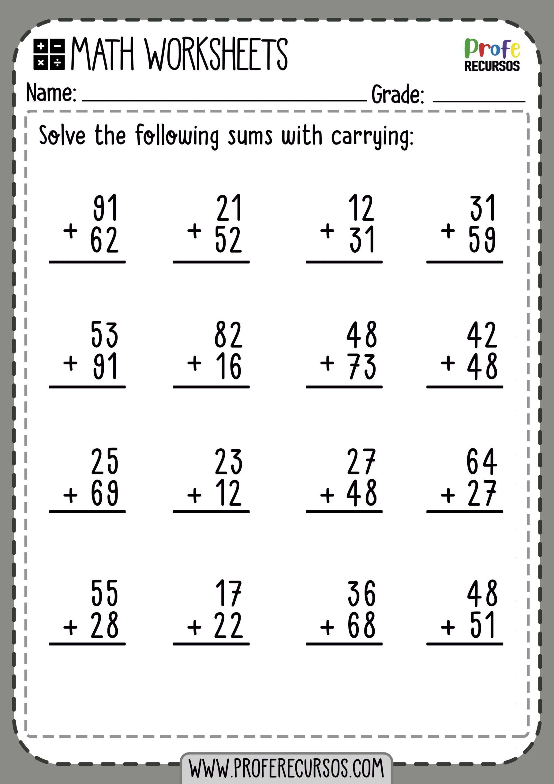 hight resolution of 2-Digit Addition with Carrying   Math Worksheets