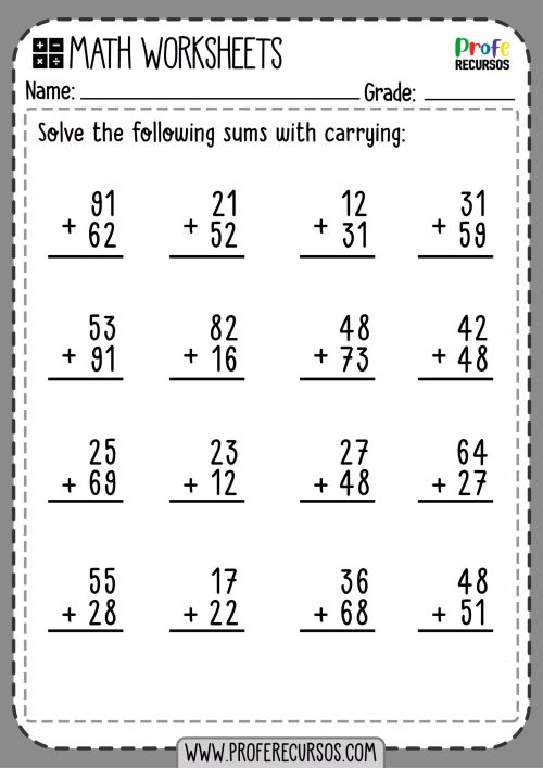 small resolution of 2-Digit Addition with Carrying   Math Worksheets