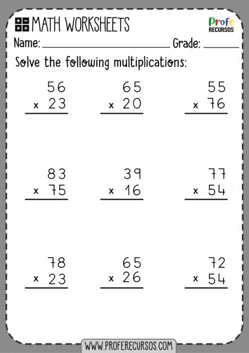 small resolution of 2-Digit by 2-Digit Multiplication Worksheets