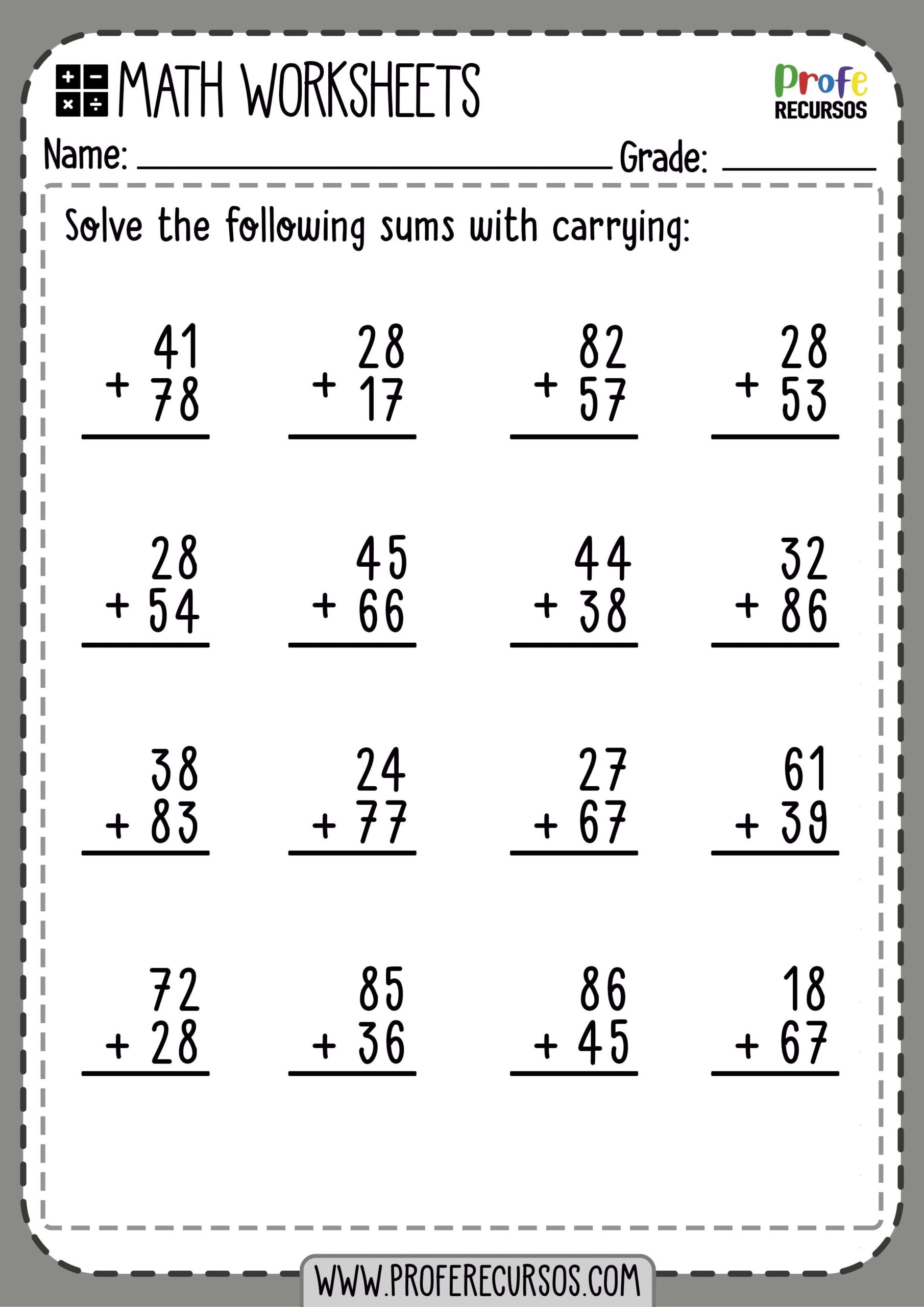 2 Digit Addition With Carrying