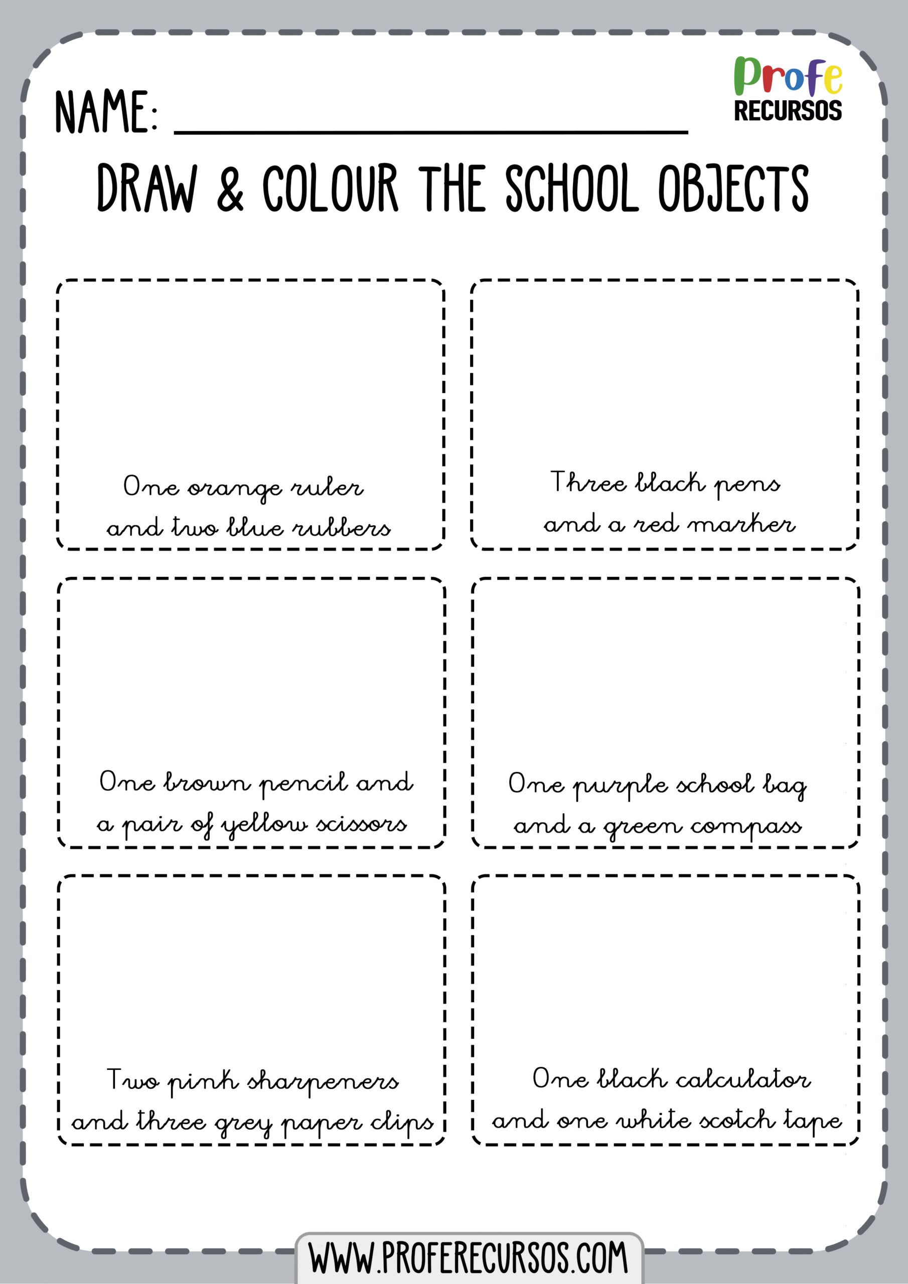 School Objects Worksheet1