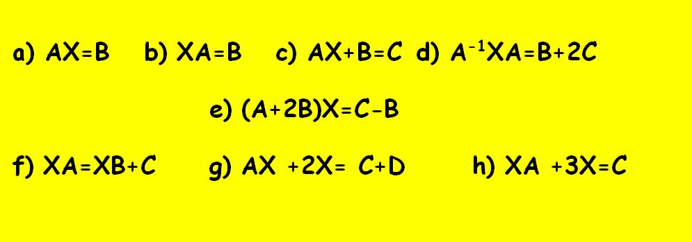 ecuaciones matriciales