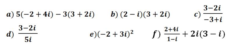 operaciones con numeros complejos en forma binomica