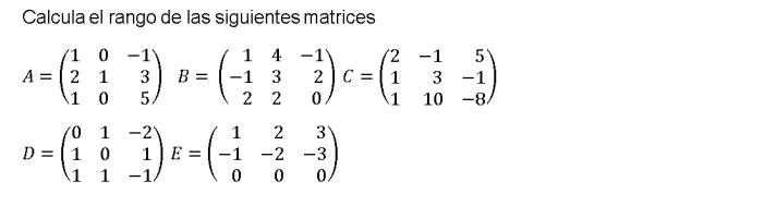 rango de una matriz 2 bachillerato