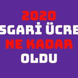 2020 Asgari Ücret Ne Kadar oldu, Asgari ücret 2020
