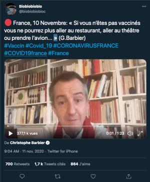 France, 10 Novembre: « Si vous n'êtes pas vaccinés….»