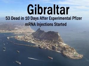 Gibraltar – Pfizer: 16 morts en un an sans vaccin, 36 morts en 10 jours avec vaccin