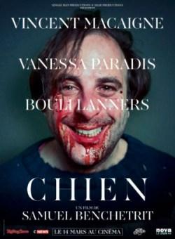Affiche de Chien, film Samuel Benchetrit, avec Vincent Macaigne, Vanessa Paradis et Bouli Lanners
