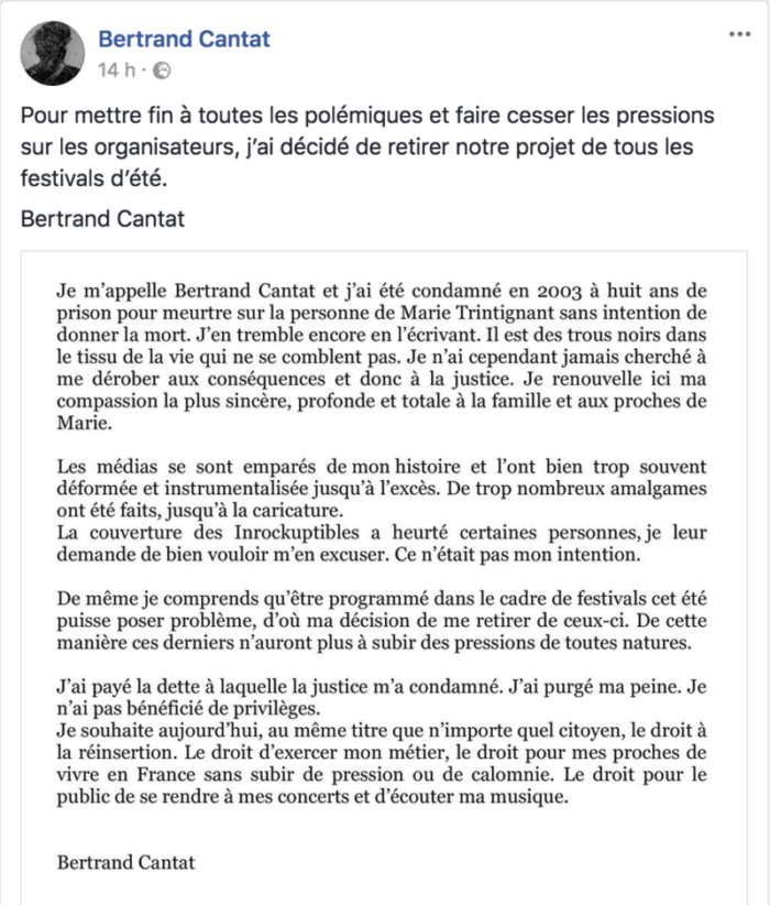 Bertrand Cantat - message Facebook
