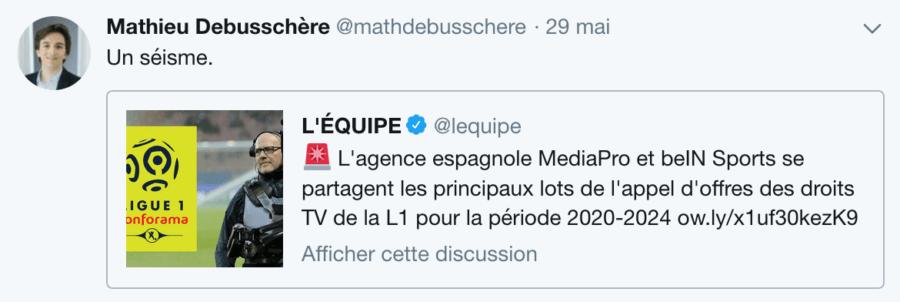 Tweet Mathieu Debusschère sur Canal+