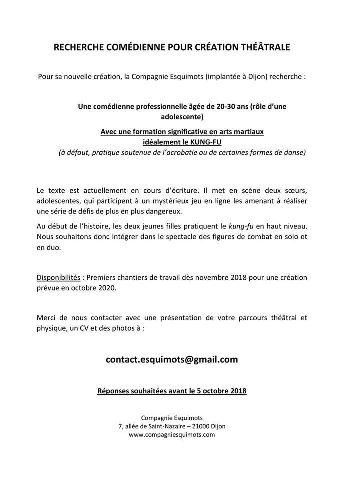 Dijon La Compagnie Esquimots Recherche Une Comédienne
