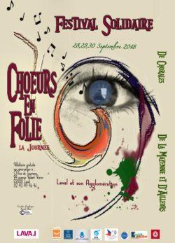 Affiche du festival Chœurs en folie, la journée à Laval en Mayenne