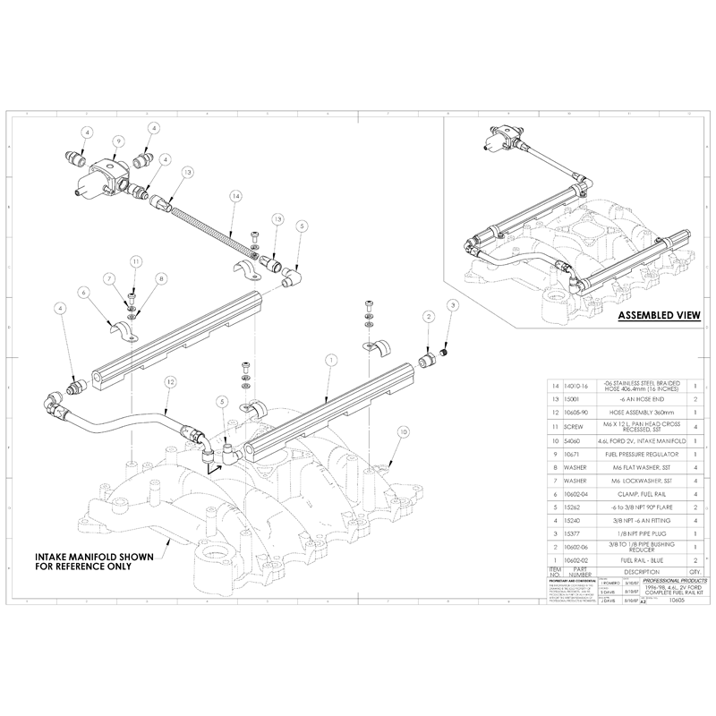 Ford Mustang Complete Fuel Rail Kit for 1996-'98 4.6L