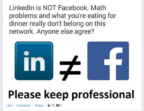 Linkedin is not Facebook