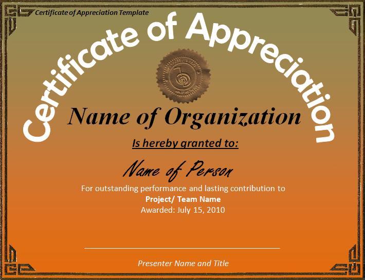 Certificate of appreciation template professional word for Certificate of appreciation template