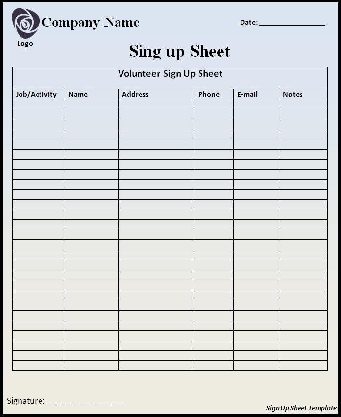 Sign up sheet template word templates for Nursery sign in sheet template