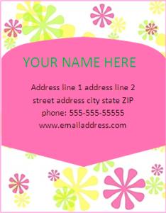 address label template