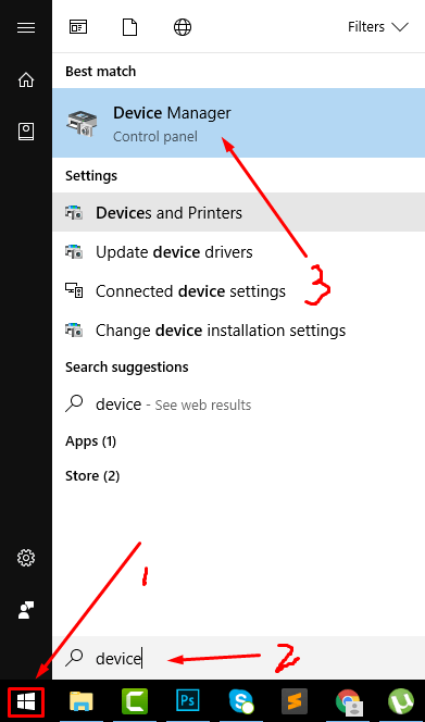 Device Manager Windows Button