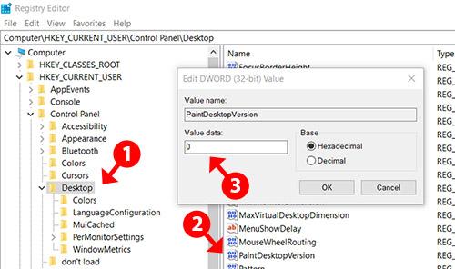 Registry Editor PaintDesktopVersion