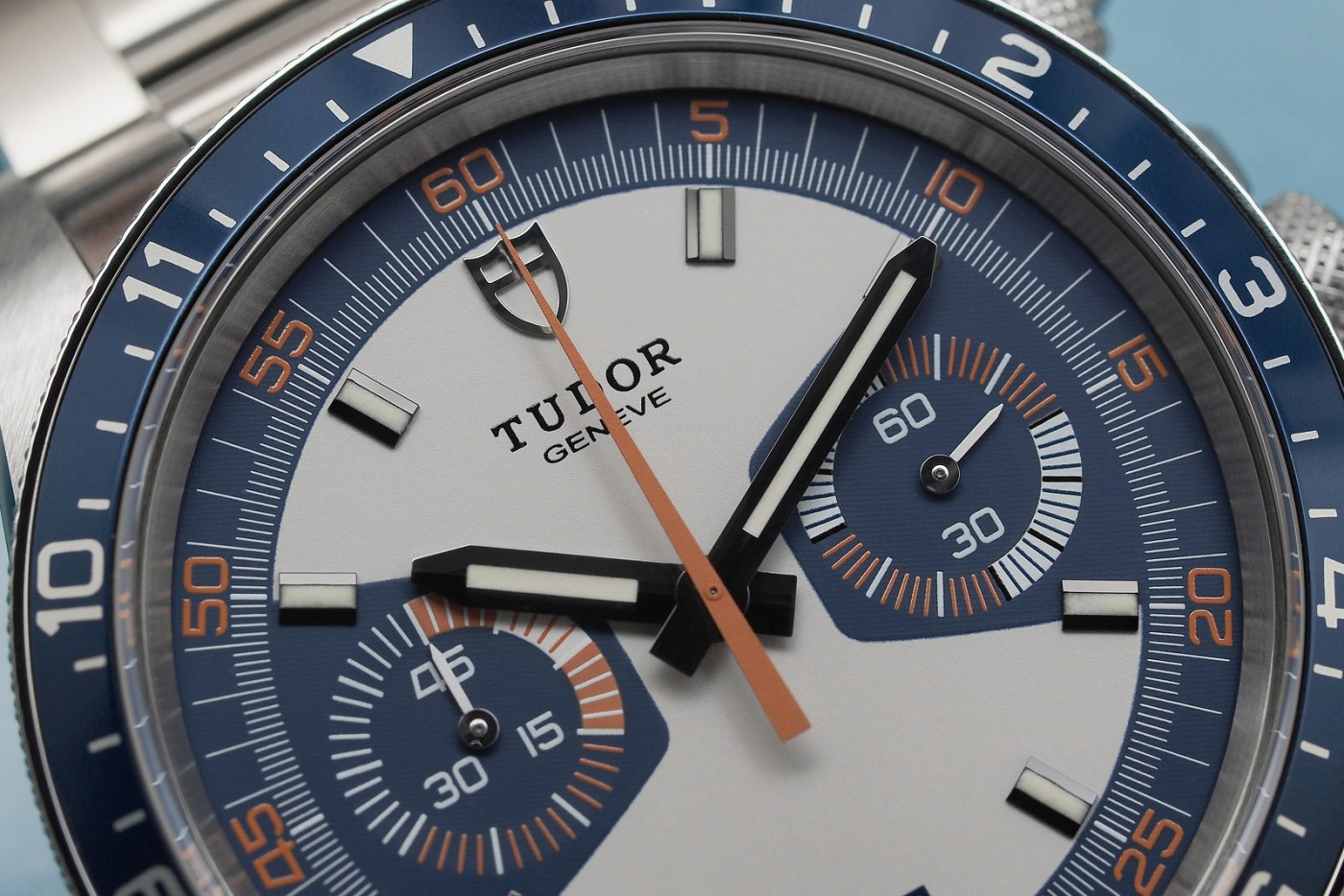 Tudor Heritage Blue Chrono close-up