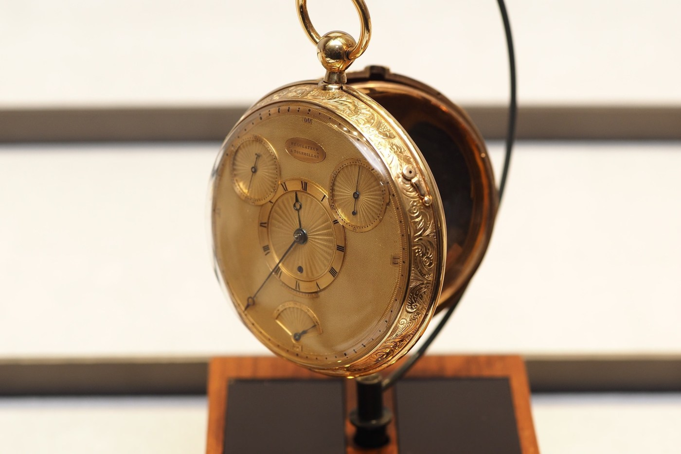 Breguet No. 1176 Montre garde-temps à tourbillon pocketwatch seen in the Breguet Museum of Paris