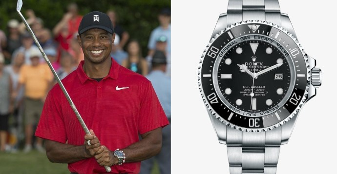 Tiger Woods with Rolex Deep Sea at 2018 PGA tour championship