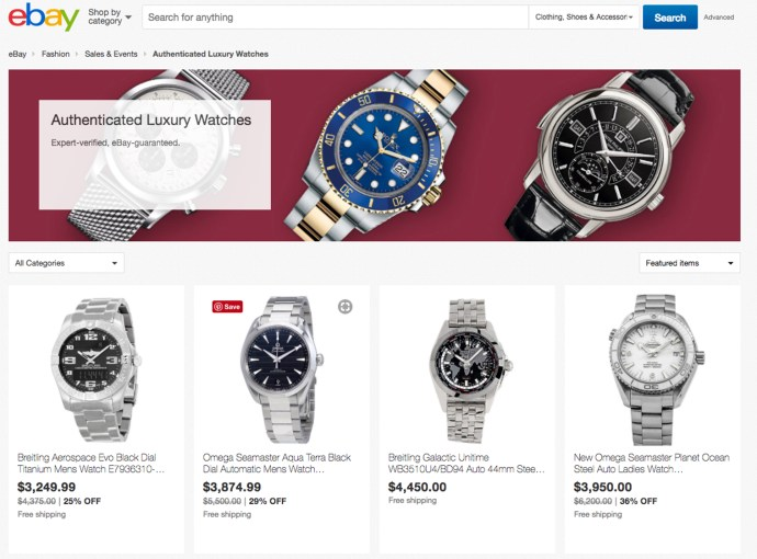 eBay Authenticate Luxury watch page