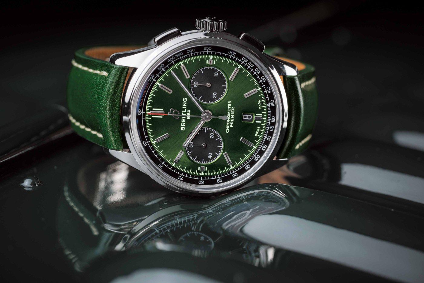 Breitling Premier B01 Chronograph 42 Bentley British Racing Green with a British racing green leather strap