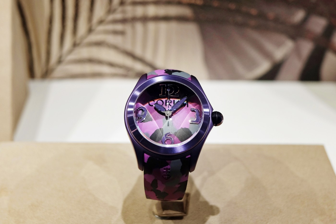 Corum Bubble in case at Baselworld 2017