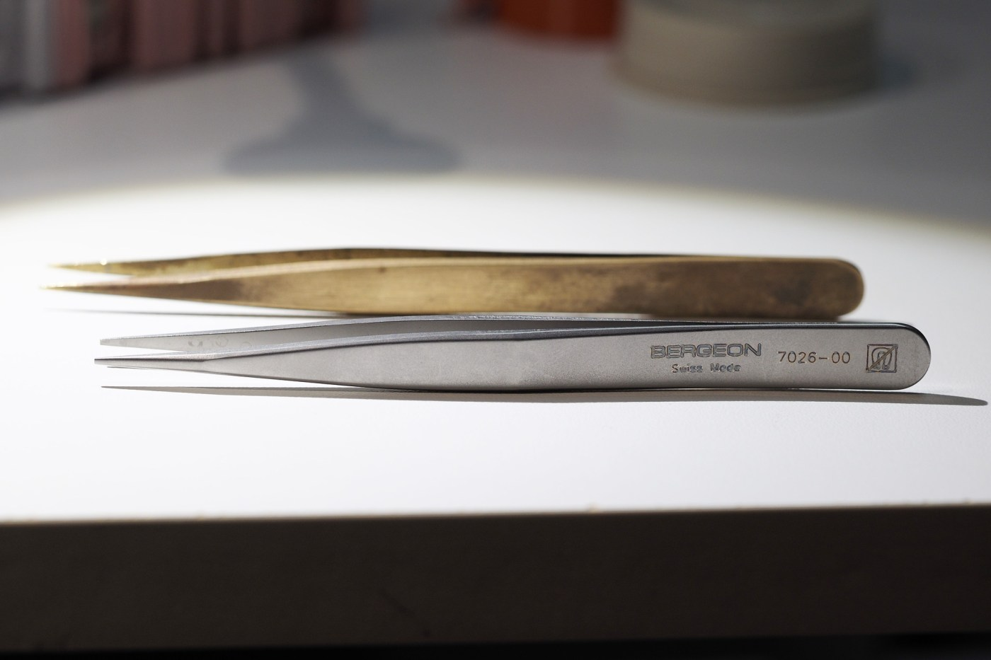 Brass and nickel watchmaking tweezers, soft enough not to damage most of the metal components