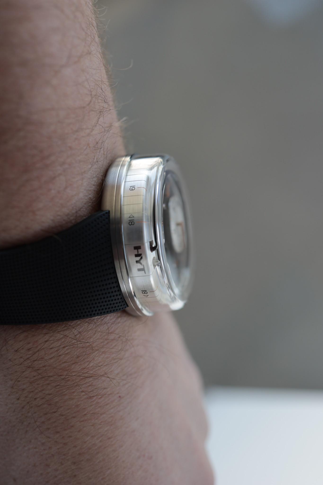 HYT H0 Orange on the wrist