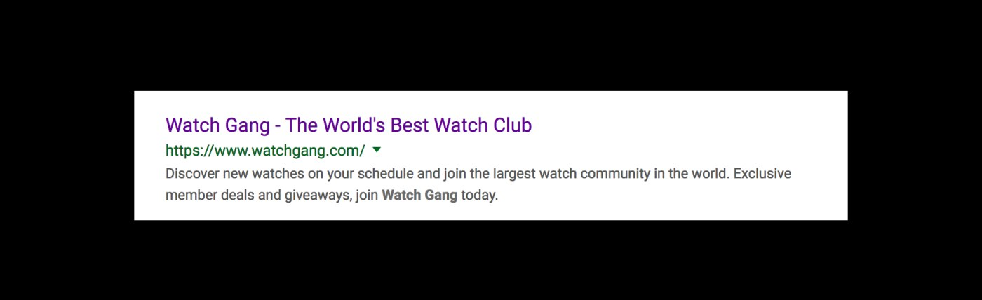 One of many of Watch Gang's hyperbolic advertising messages