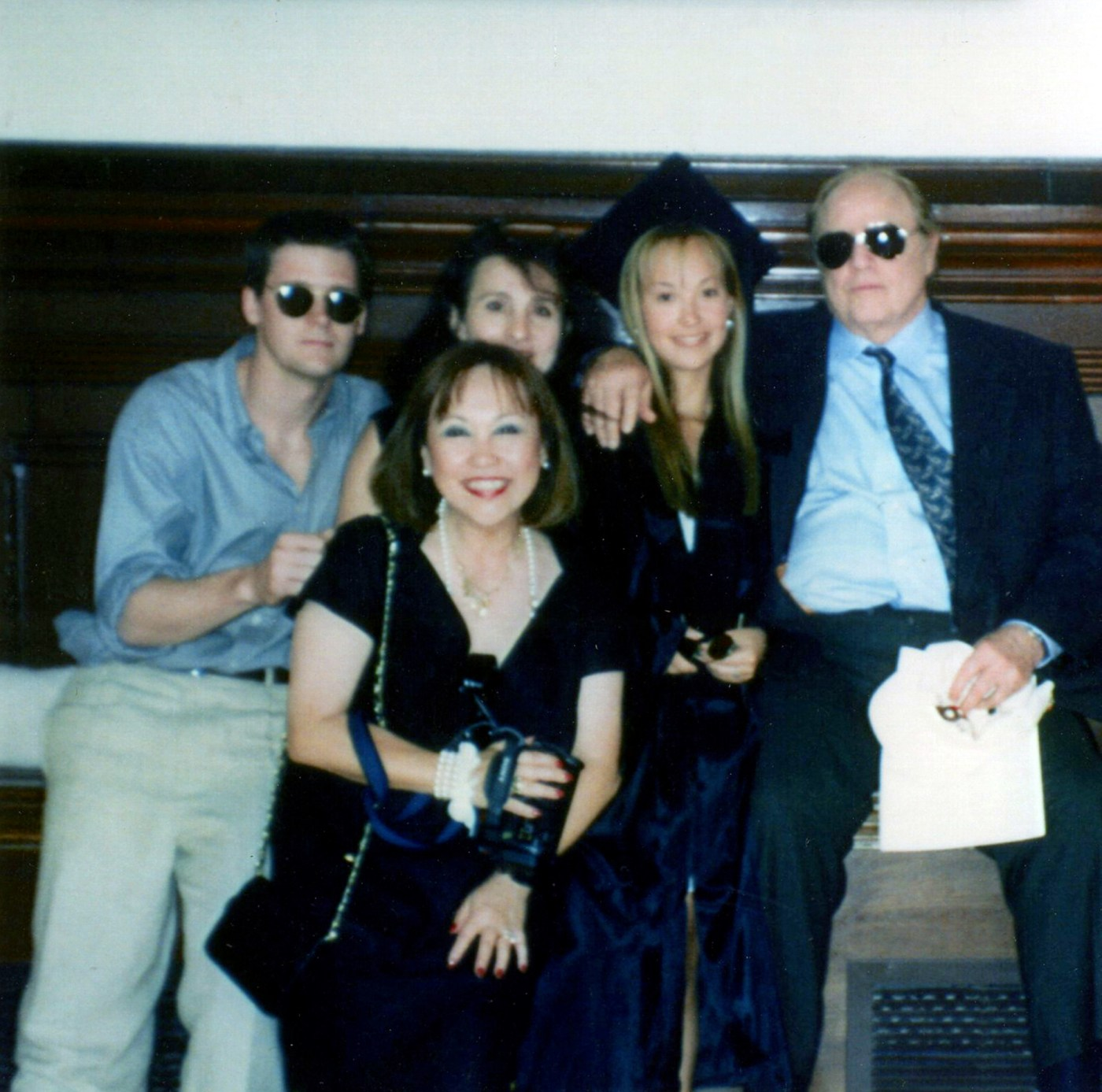 Brando Family - Petra with Marlon and her mother Caroline Barrett at her graduation from Brown University in May 1994, courtesy of Petra Brando
