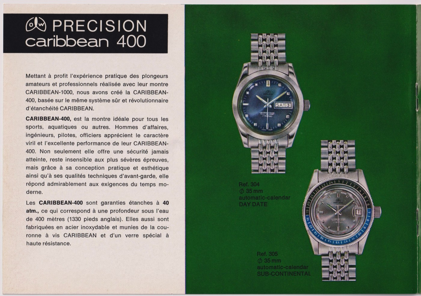 Precision Caribbean 400 vintage ad by Ollech and Wajs