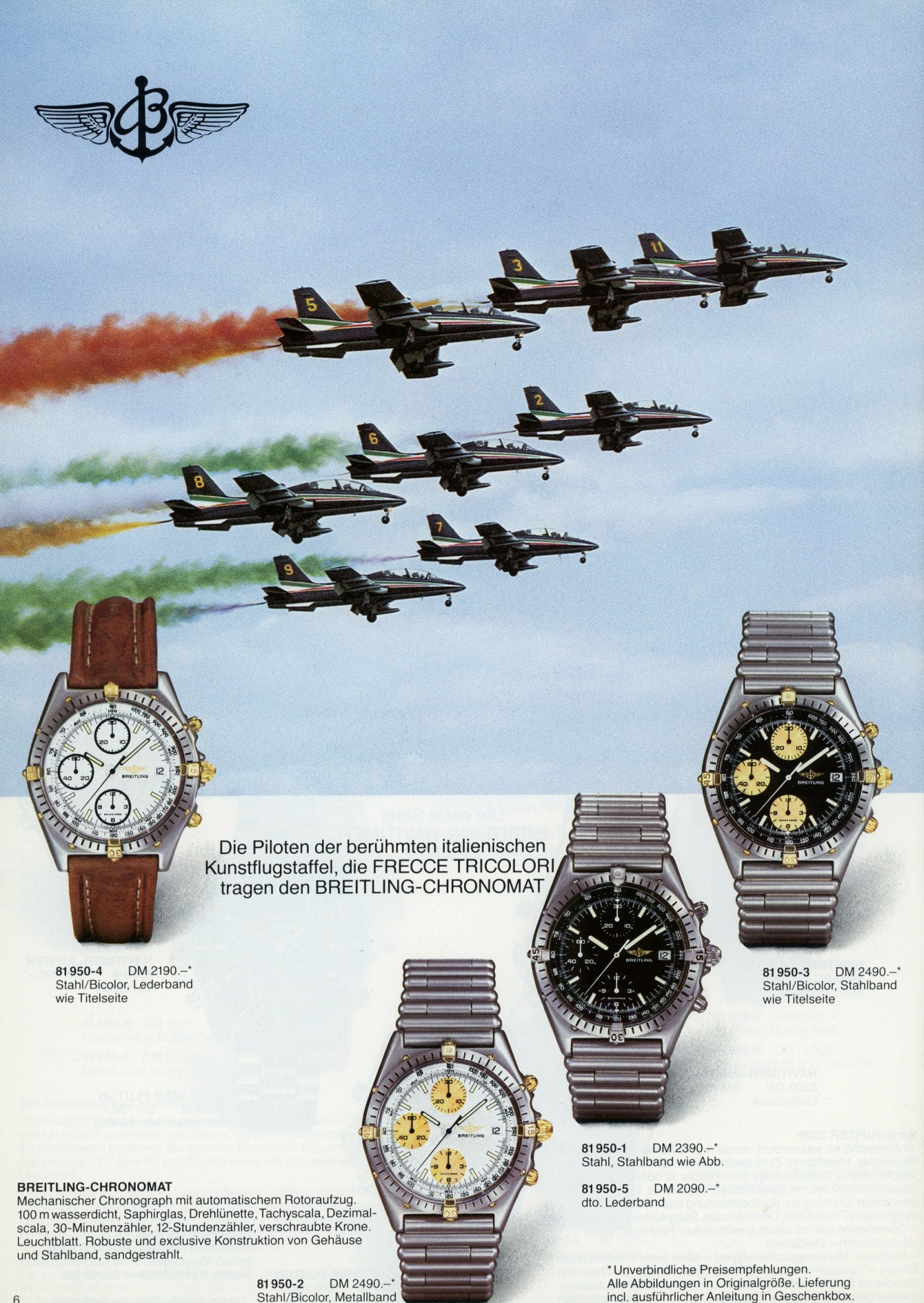 Breitling Catalog from 1987 showing the Chronomat