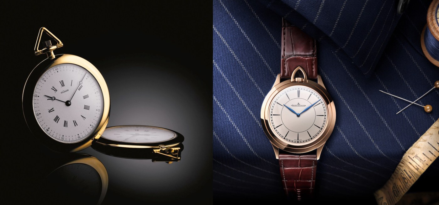 Jaeger-LeCoultre Kingsman Ultra Thin Knife Watch next to 1907 pocket watch which inspired the design