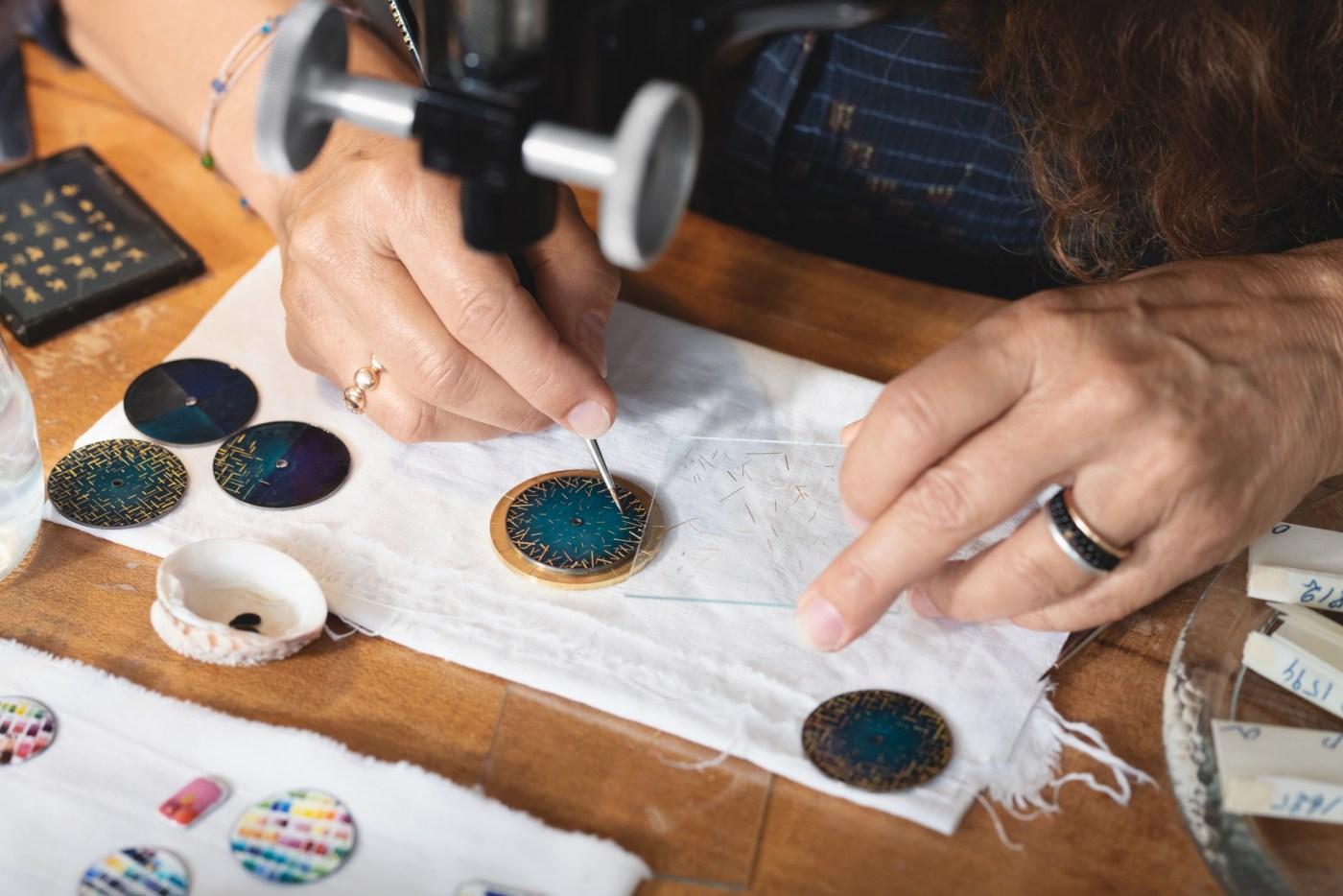 Anita Porchet painting dial for Audemars Piguet Code 11.59 Grande Sonnerie