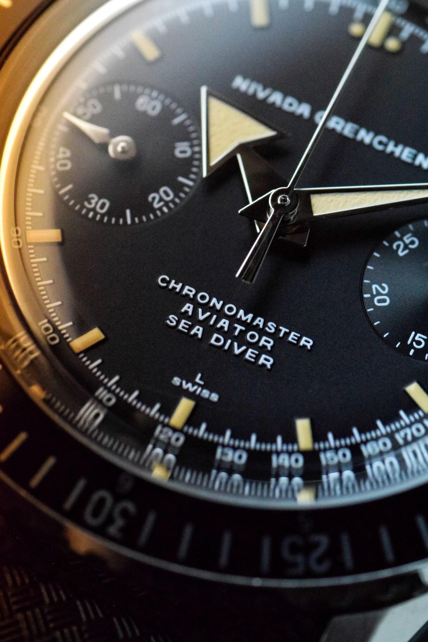 Nivada Grenchen Chronomaster Aviator Sea Diver dial close up