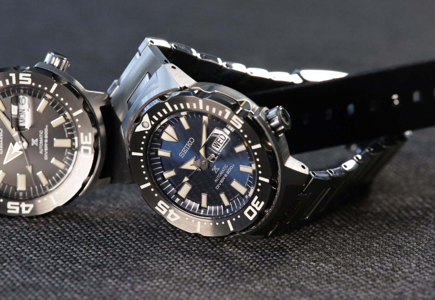 Seiko Prospex Ref SRPD25 Monster Automatic Diver next to SRPD27