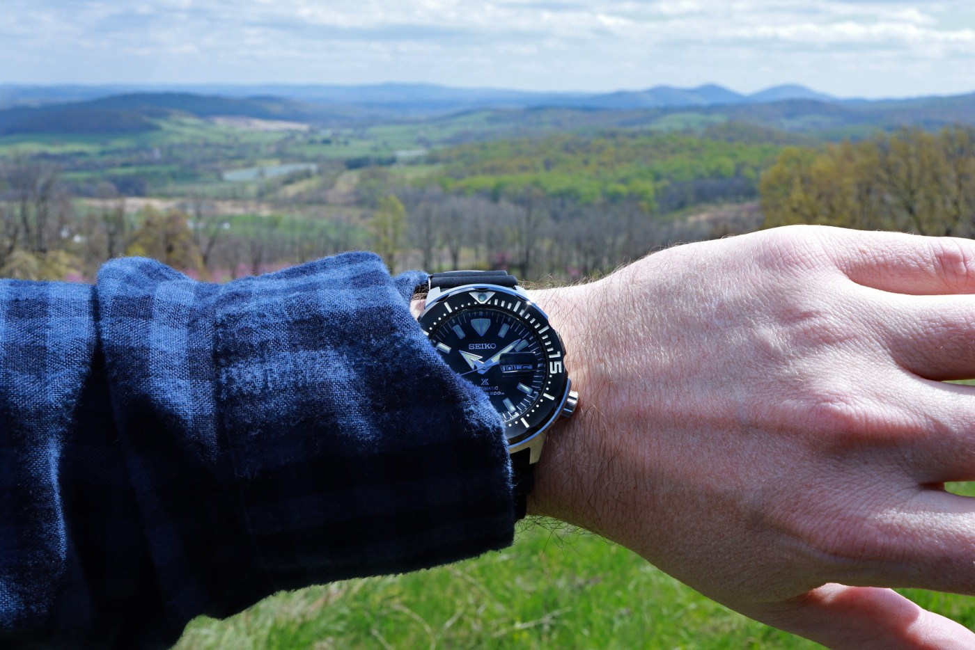 Seiko Prospex Ref SRPD27 Monster Automatic Diver wristshot at Skyview Meadows park