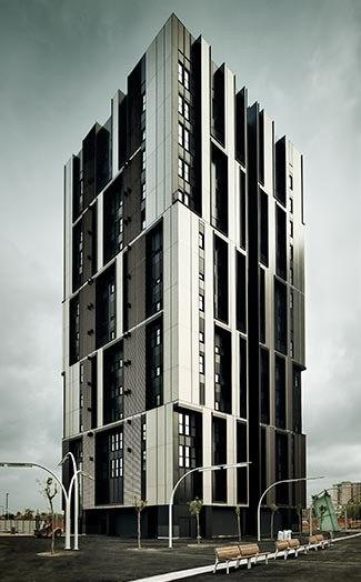 Unelegante torre per alloggi sociali a Barcellona