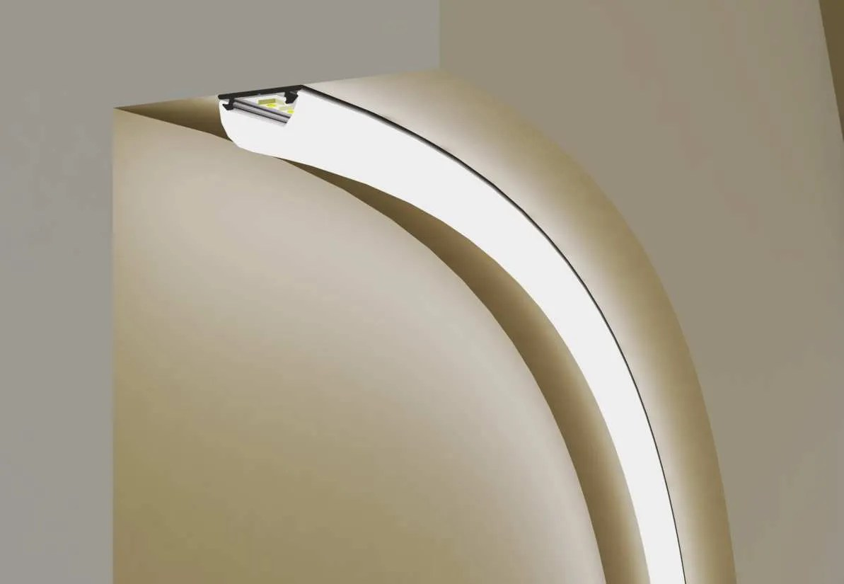 """Strisce Led Per Cartongesso kit completo barra alluminio """"curvabile"""" 2 mt flexible per strip led"""