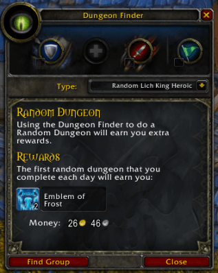 World of Warcraft Random Dungeon Finder