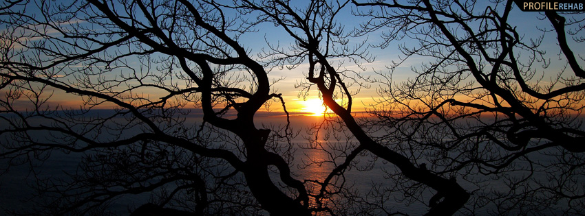 Scenic Fall Wallpaper Sunset Through Trees Facebook Cover