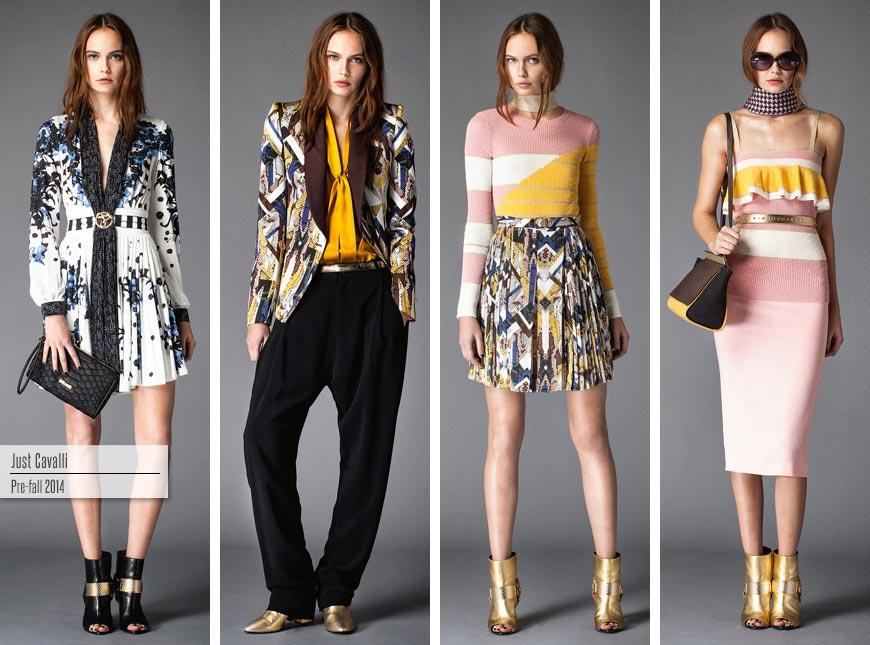 Kapka modré, růžová se žlutou a patchwork – to je koření nové kolekce Just Cavalli Pre-Fall 2015.