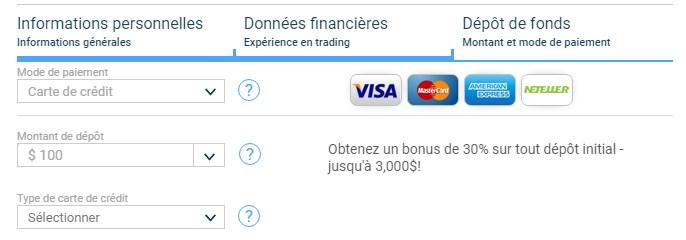 Visuel de la page de dépôt d'argent Fortrade