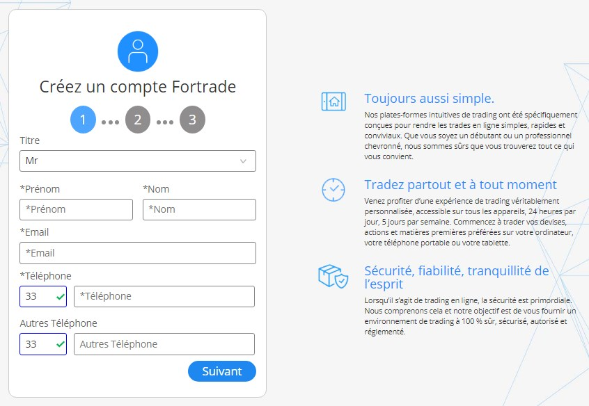 Formulaire d'inscription Fortrade